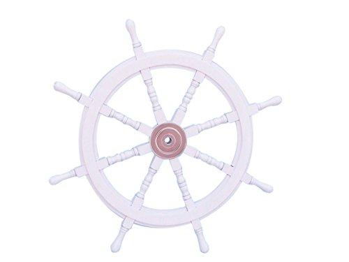 Deluxe Class White Wood and Chrome Ship Decorative Steering Wheel 36''