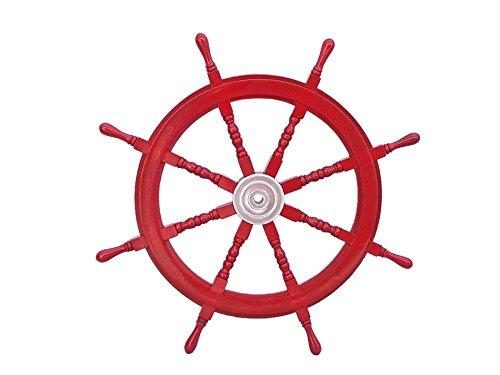 Deluxe Class Dark Red Wood and Chrome Decorative Ship Steering Wheel 36''