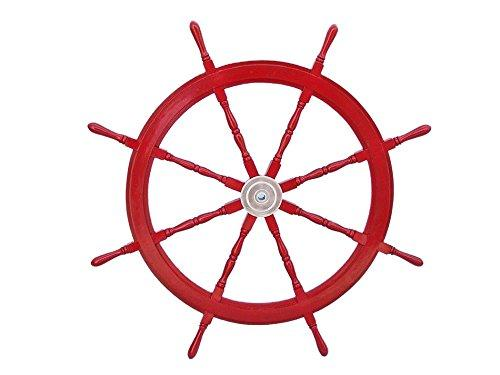 Deluxe Class Dark Red Wood and Chrome Decorative Ship Steering Wheel 48''
