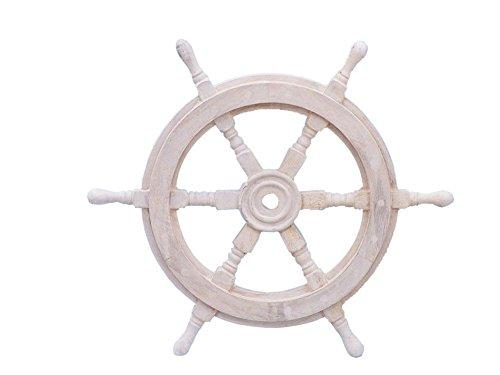 Classic Wooden Whitewashed Decorative Ship Steering Wheel 18''