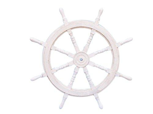 Classic Wooden Whitewashed Decorative Ship Steering Wheel 36''