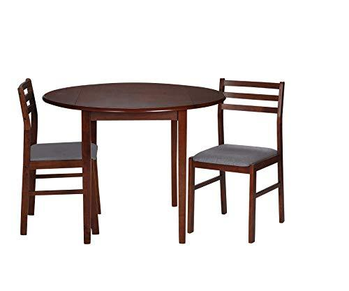 GiftMark 3 Piece Dining Set includes 2 chairs w Grey Padded Seats and a Drop Leaf Table