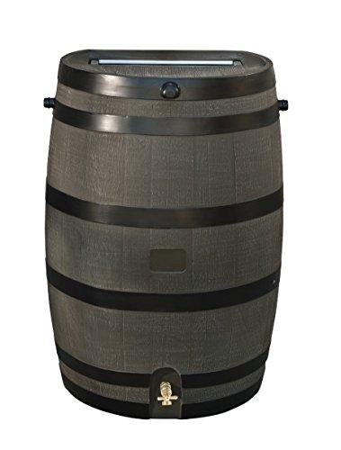 Woodgrain Rain Barrel With Brass Spigot