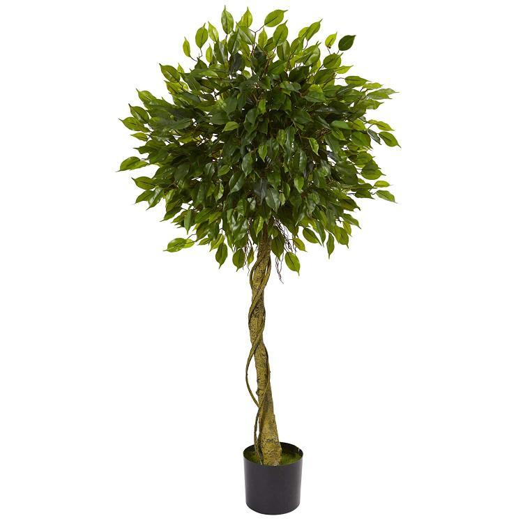 5' Ficus Artificial Topiary Tree, UV Resistant (Indoor/Outdoor)