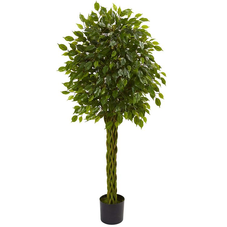 5' Ficus Artificial Tree with Woven Trunk, UV Resistant (Indoor/Outdoor)