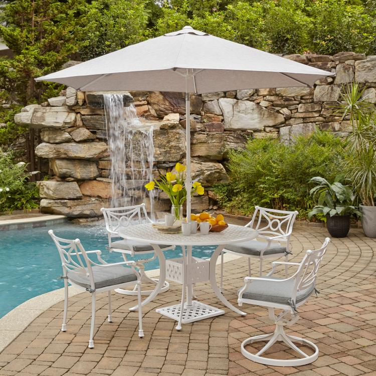 Home Styles La Jolla Cast Aluminum Outdoor Round 5 Pc. Dining Group with Umbrella & Base