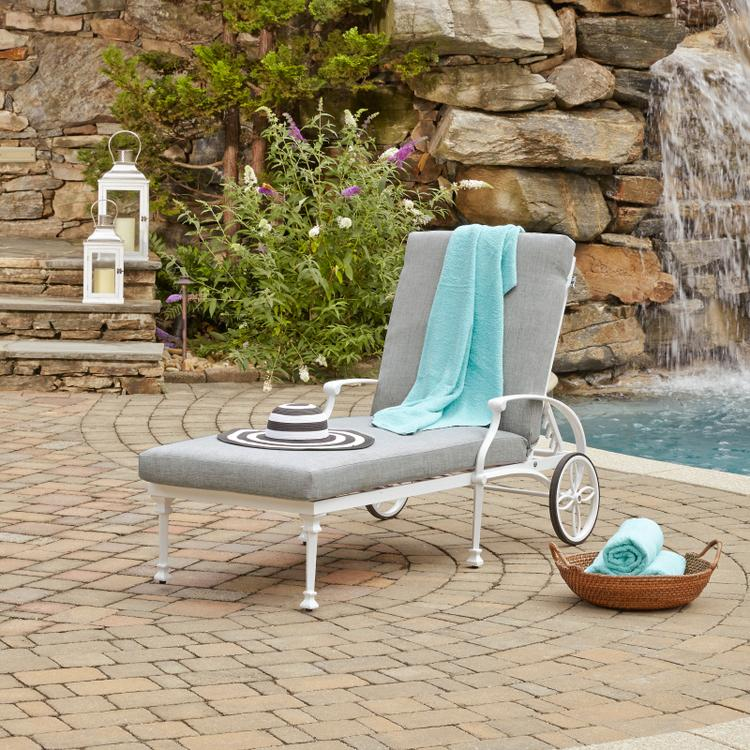 Home Styles La Jolla Cast Aluminum Outdoor Chaise Lounge