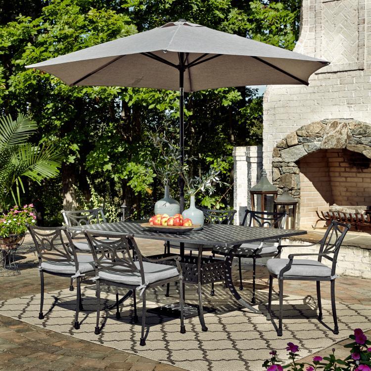 Home Styles La Jolla Cast Aluminum Outdoor Rectangular 7 Pc. Dining Group with Umbrella & Base