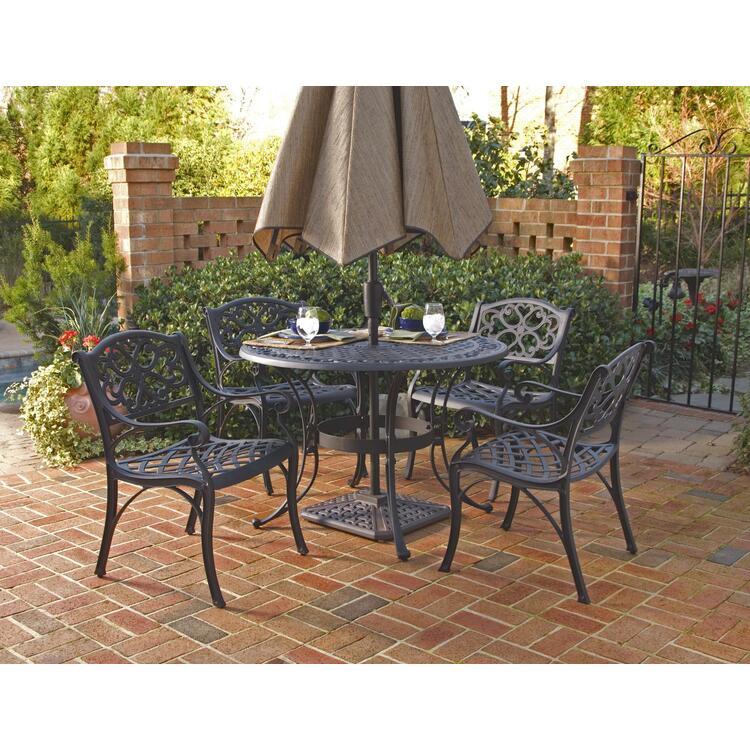 Home Styles Biscayne 5 Piece Round Outdoor Dining Set