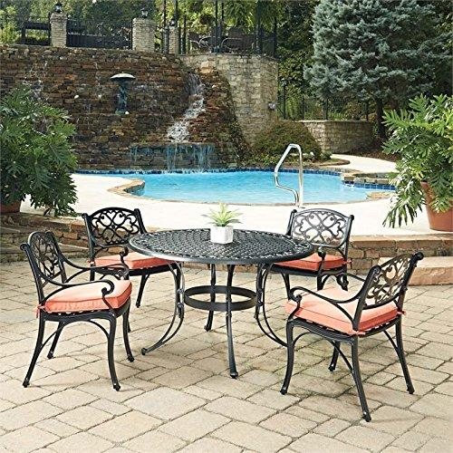 Home Styles Biscayne Black Round 5 Pc Outdoor Dining Table & 4 Arm Chairs with Cushions