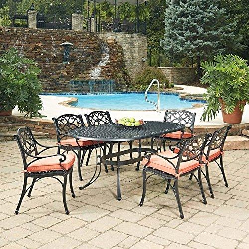 Home Styles Biscayne Black Oval 7 Pc Outdoor Dining Table & 6 Arm Chairs with Cushions