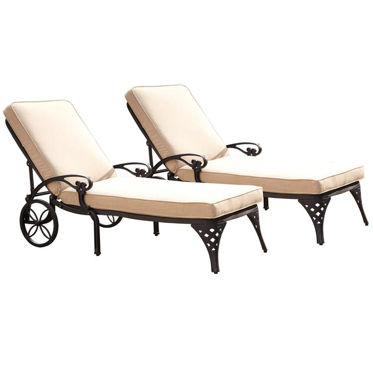 Home Styles Biscayne Chaise Lounge Chairs (2) Cushions