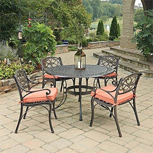 Home Styles Biscayne Rust Bronze Round 5 Pc Outdoor Dining Table & 4 Arm Chairs with Cushions