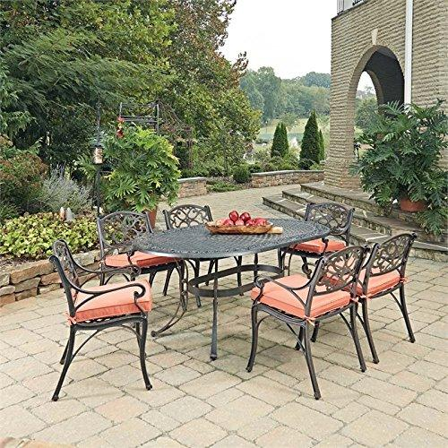 Home Styles Biscayne Rust Bronze Oval 7 Pc Outdoor Dining Table & 6 Arm Chairs with Cushions