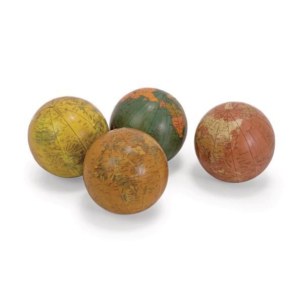 Antique Finish Globe Spheres - Set Of 4