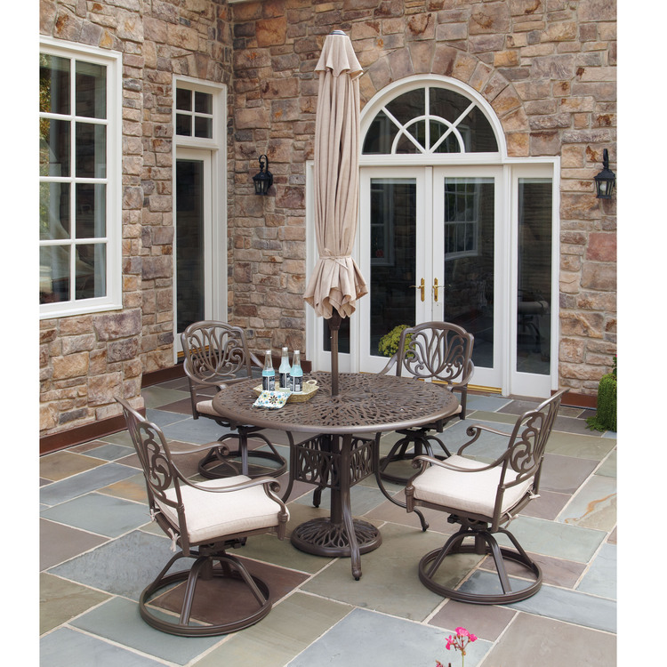 Home Styles Floral Blossom Taupe 5PC Dining Set with Umbrella