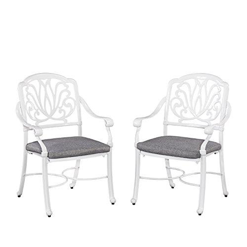 Home Styles Floral Blossom White Set of Arm Chairs w/ Cushion