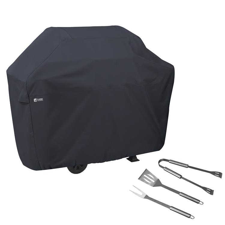 Classic Accessories BBQ Grill Cover, Large, with Grill Tool Set - Grilling Spatula, Tongs, and Fork