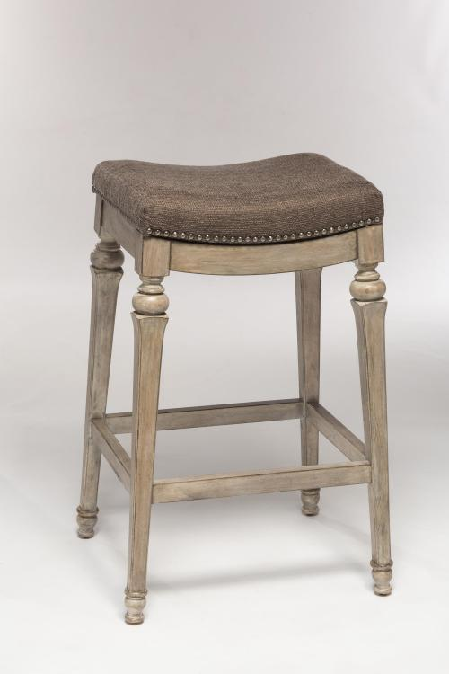 Vetrina Backless Non-Swivel Counter Stool with Gray Fabric