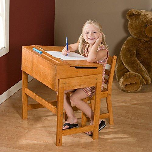 Child's Slanted Top Desk & Chair Pecan