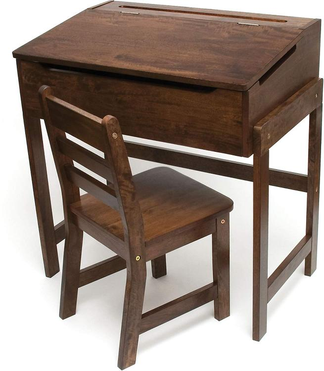 Lipper Child's Slanted Top Desk & Chair Walnut