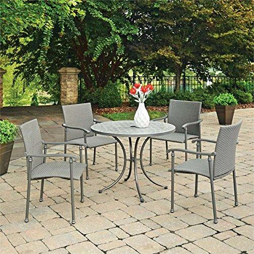 Home Styles Umbria Concrete Tile 5 Pc Round Outdoor Table & 4 Chairs