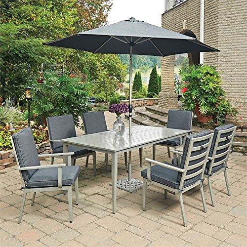 Home Styles South Beach 9 Pc. Rectangular Outdoor Dining Table; 6 Chairs with Umbrella & Base