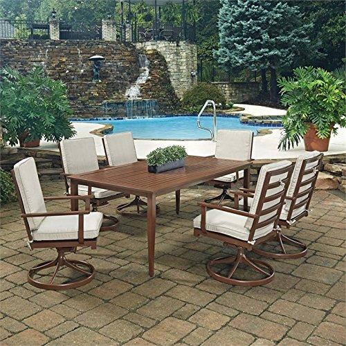 Key West 7 Pc. Rectangular Outdoor Dining Table& 6 Swivel Rocking Chairs
