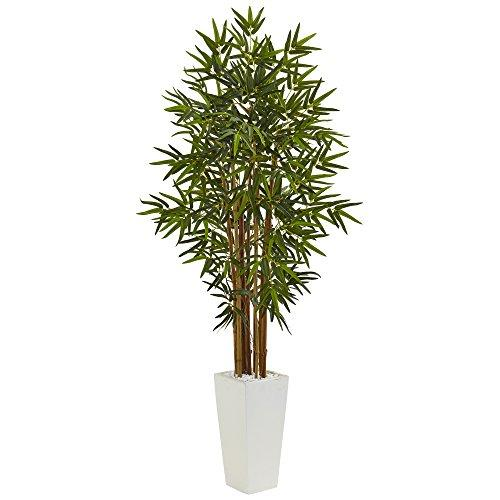 5? Bamboo Artificial Tree in White Tower Planter