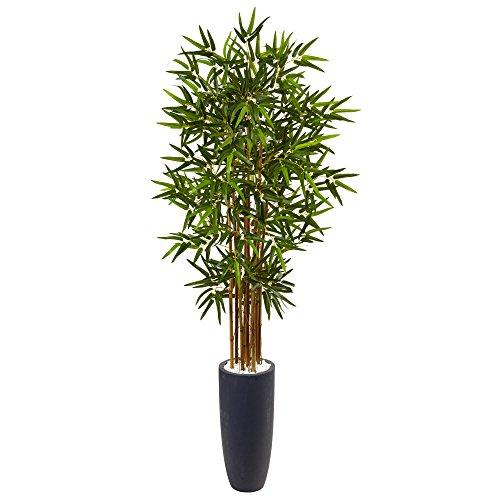 5? Bamboo Artificial Tree in Gray Cylinder Planter
