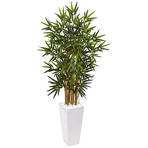 4? Bamboo Artificial Tree in White Tower Planter