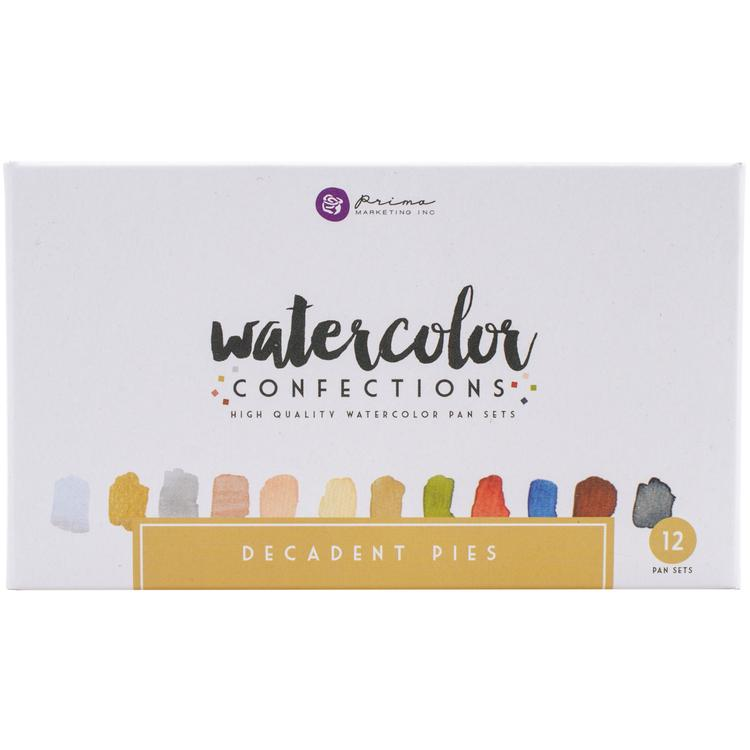 Prima Watercolor Confections Watercolor Pans 12/Pkg-Decadent Pies