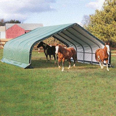 ShelterLogic 22x20x10 Peak Style Run In/Hay Storage Shelter, Green Cover