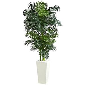 Golden Cane Palm Artificial Tree in White Tower Planter
