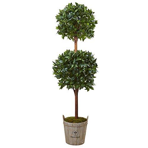 6? Double Ball Topiary Artificial Tree with European Barrel Planter
