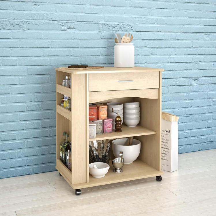 Nexera 597 1-Drawer Mobile Microwave Cart, Natural Maple