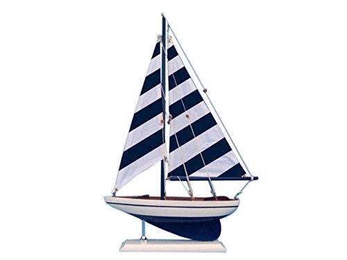 Wooden Blue Striped Pacific Sailer Model Sailboat Decoration 17''