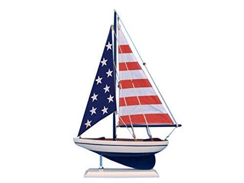 Wooden USA Flag Sailer Model Sailboat Decoration 17''