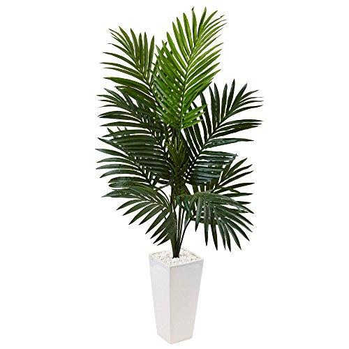 4.5? Kentia Palm Artificial Tree in White Tower Planter