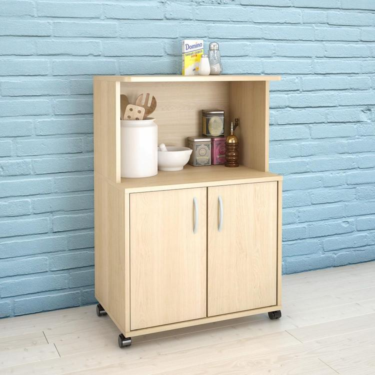 Nexera 599 2-Door Mobile Microwave Cart, Natural Maple
