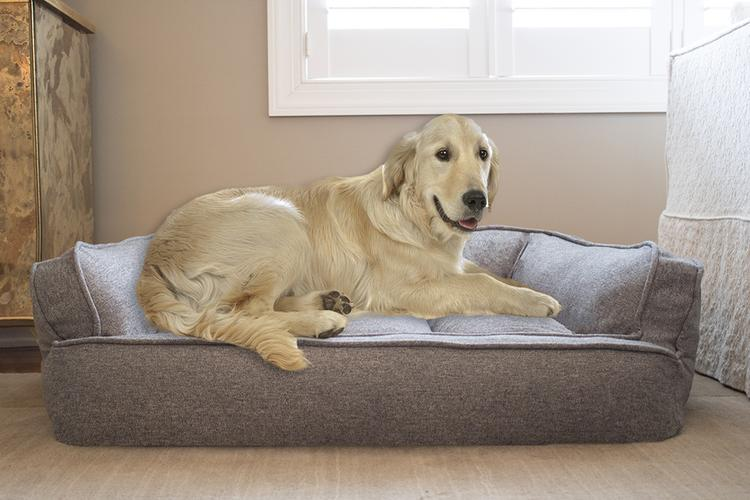 Arlee Memory Foam Sofa and Couch Style Pet Bed for Dogs and Cats-48x37,Walnut