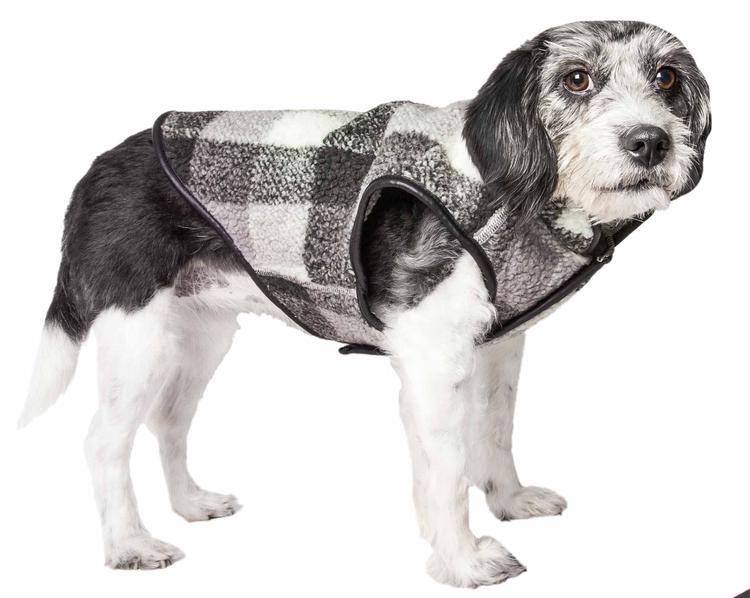Pet Life ® 'Black Boxer' Classical Plaided Insulated Dog Coat Jacket
