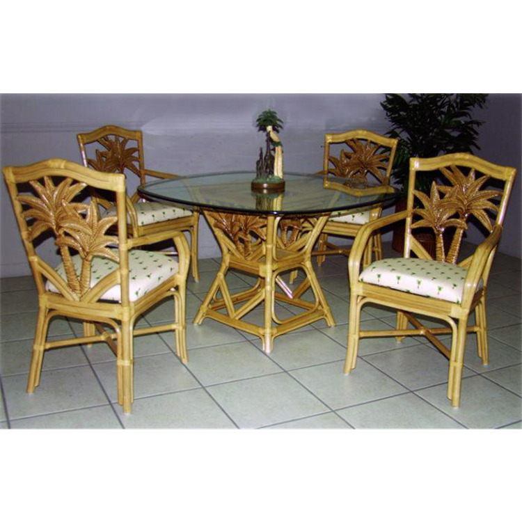 Cancun Palm 5 Piece Dining Set with Arm Chairs and Square Table, Finish Natural