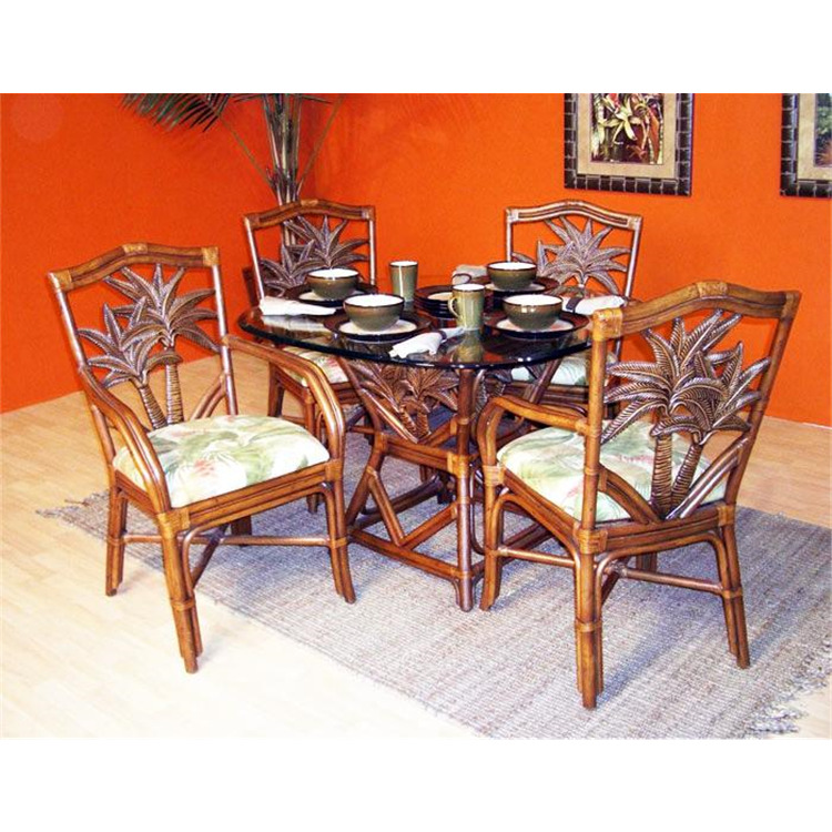 Cancun Palm 5 Piece Dining Set with Arm Chairs and Square Table, Finish TC Antique