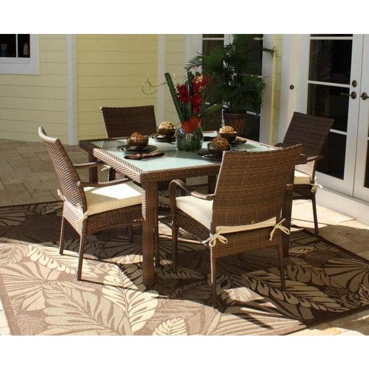 Grenada 5 Piece Square Dining Set with Arm Chairs, Finish Antique Brown
