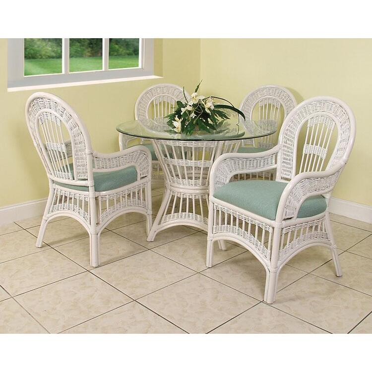 St Lucia Arm Chair Dining Set, Finish Whitewash
