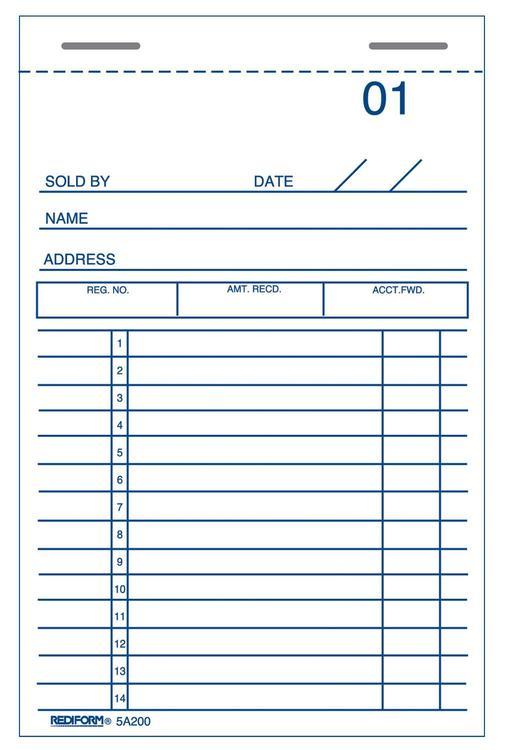 5A200 Sales Book Dup 3X5