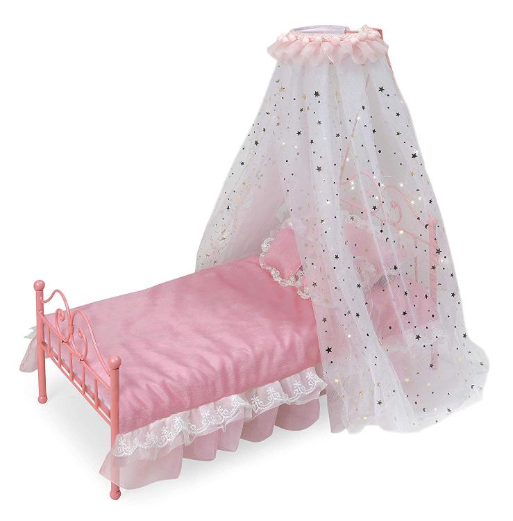Badger Basket Starlights LED Canopy Metal Doll Bed with Bedding - Pink