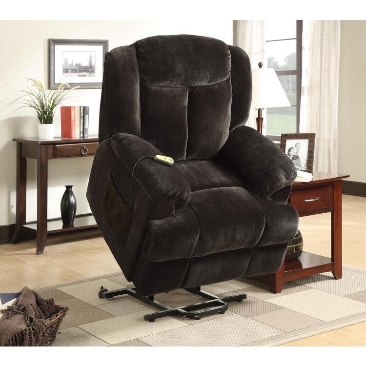 Coaster Casual Chocolate Velvet Power Lift Recliner
