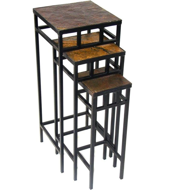 4D Concepts 3 piece slate square plant stands w/ slate tops